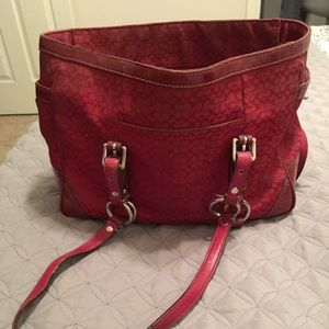 Red Coach Tote Handbag